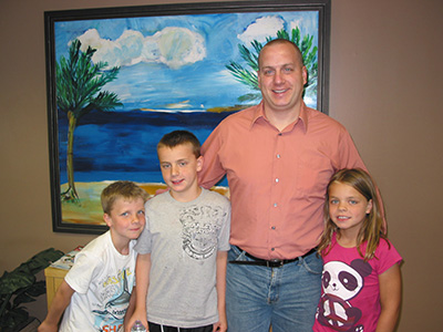 Matt and his kids visiting for their checkups